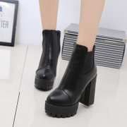 New high heel women boots in Europe and America in autumn and winter thick waterproof short boots with elastic band, Martin boots side zipper ankle boots