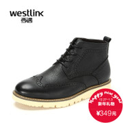 Westlink/2015 winter new style leather Brock West belt and cashmere men's casual boots ankle boots