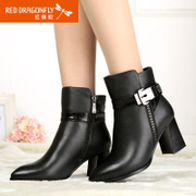 Red Dragonfly new genuine leather women shoes winter fashion trend of the Korean high chunky heels women's short boots
