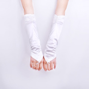 Korean bridal gown wedding dress accessory gloves Bridal Gloves no adhesive bead long fingerless gloves