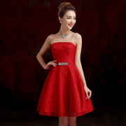 Bride toast for 2015 the new spring fashion dresses short bridesmaid dress evening dress red with purple wedding summer