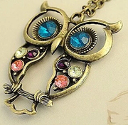 Korean version of the retro-openwork diamond OWL OWL sweater chain necklace for wedding accessories necklace
