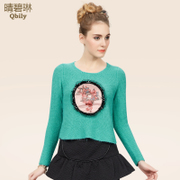 Fine bi Linda 2014 Winter retro decoration new ladies crew neck long sleeve black sequin Turtleneck knit sweater
