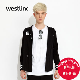 Westlink/West fall 2015 new cotton hooded letter reversed black and white mosaic male long sleeve shirt