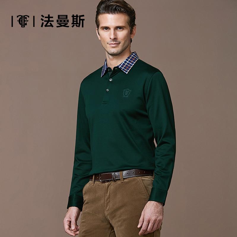 法曼斯秋冬男士长袖t恤衫 商务休闲翻领纯色中年纯棉修身男t恤
