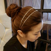 Know Connie hair accessories Korean rhinestones tiara hair accessories Korean double headband pressure double-row card insert drill collar