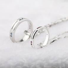 纯银饰品 情侣项链一对戒指吊坠男女日韩 创意刻字七夕情人节礼物