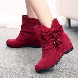2015 new Korean version of tassels in winter high women boots nubuck leather shoes and wool-short barrel sleeve and bare boots