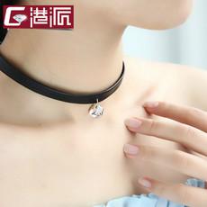 港派脖子饰品颈带气质人造水晶短项链锁骨链女颈链皮绳项圈610