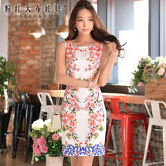 Dress summer temperament slim big pink dolls 2015 summer styles dresses sleeveless print dress