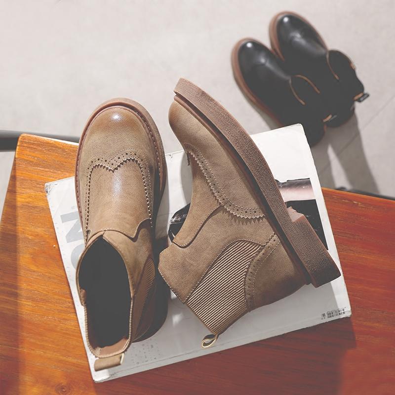 切尔西短靴粗跟2017新品百搭平底马丁靴女英伦风春秋冬季裸靴单靴