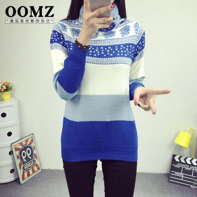 oomz2015冬装新款韩版高领花朵拼色针织衫加厚保暖毛衣打底衫女