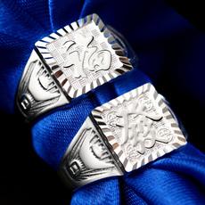 酷瑷思S999纯银男士戒指开口福字霸气单身时尚韩版活口指环可刻字