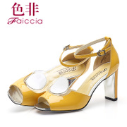 Faiccia/non 2015 summer styles Shoppe genuine patent leather fish mixed colors thick with female high heels E428
