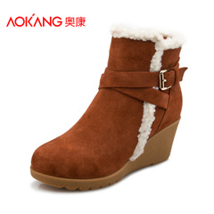 Aokang shoes fall/winter new round Europe and the minimalist belt buckle side zip with warm and comfortable Lady boots
