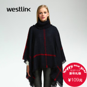 2015 winter new style red blue Plaid collar women's shawls loose knit tassel women coat