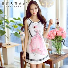 Summer pink dress dolls the 2015 summer dress new printed sleeveless tube dress skirt
