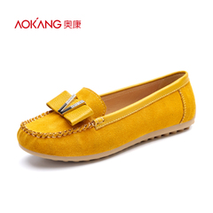 Aokang shoes spring 2016 new bow with flat shoes suede comfort shoes authentic email