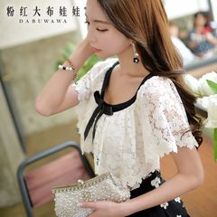 T shirt girls big pink doll summer 2015 women's lace bow blouse new shawl short sleeves t shirt