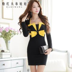 Slim dress pink doll 2015 spell color long sleeve ladies summer dress new fashion dress