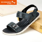 Red Dragonfly summer new genuine leather men Sandals 2015 metal decoration breathable leather shoes men's shoes