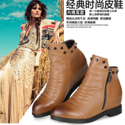 X/Xin-innovations autumn/winter boots high boots woman boots leather round nose side zipper and cashmere and Martin nude boots