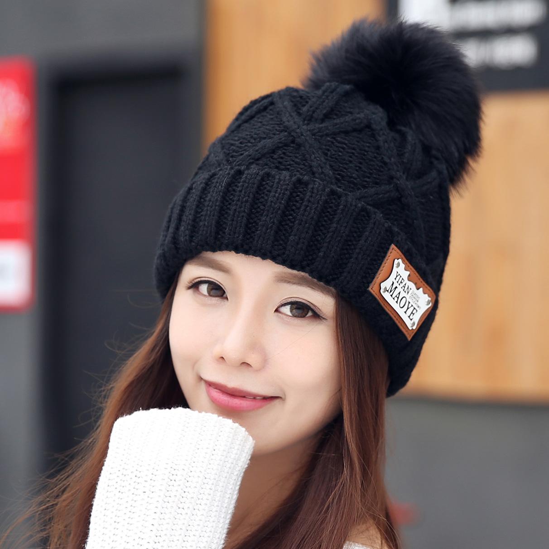 帽子女冬毛线帽韩国秋冬女士百搭加绒黑色针织帽韩版潮流护耳女帽