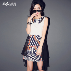 Spring/summer seven space space OTHERMIX2015 new removable skirt, sleeveless chiffon dress