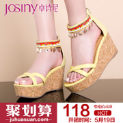 Zhuo Shini summer styles casual shoes patent leather peep-toe super high heel platform wedge Sandals 142137660