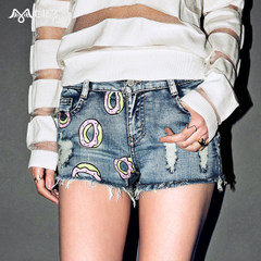 Seven space space OTHERMIX2015 spring/summer new prewashed worn hot pants ripped denim shorts women