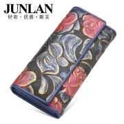 JUNLAN Chun LAN genuine ladies wallet large zip around wallet money clip leather wallet large classical European and American fashion