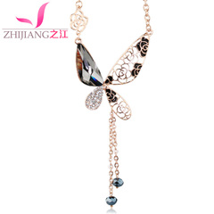 Zhijiang Butterfly sweater chain retro clothing accessories simple long chain long necklace Korea wild animals in autumn and winter accessories