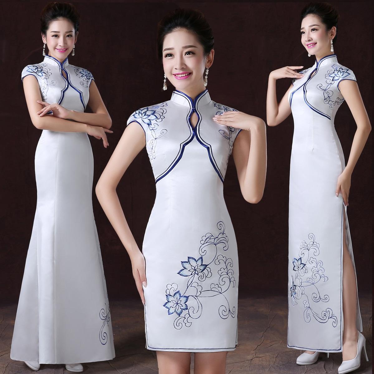 礼仪旗袍长款服装迎宾小姐青花瓷旗袍红色长短款酒店礼仪服装