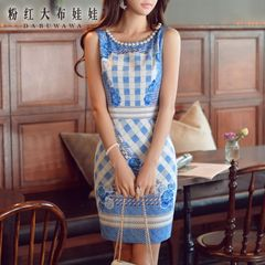 Sleeveless dress big pink doll summer 2015 new female temperament tide print slim bag hip dress