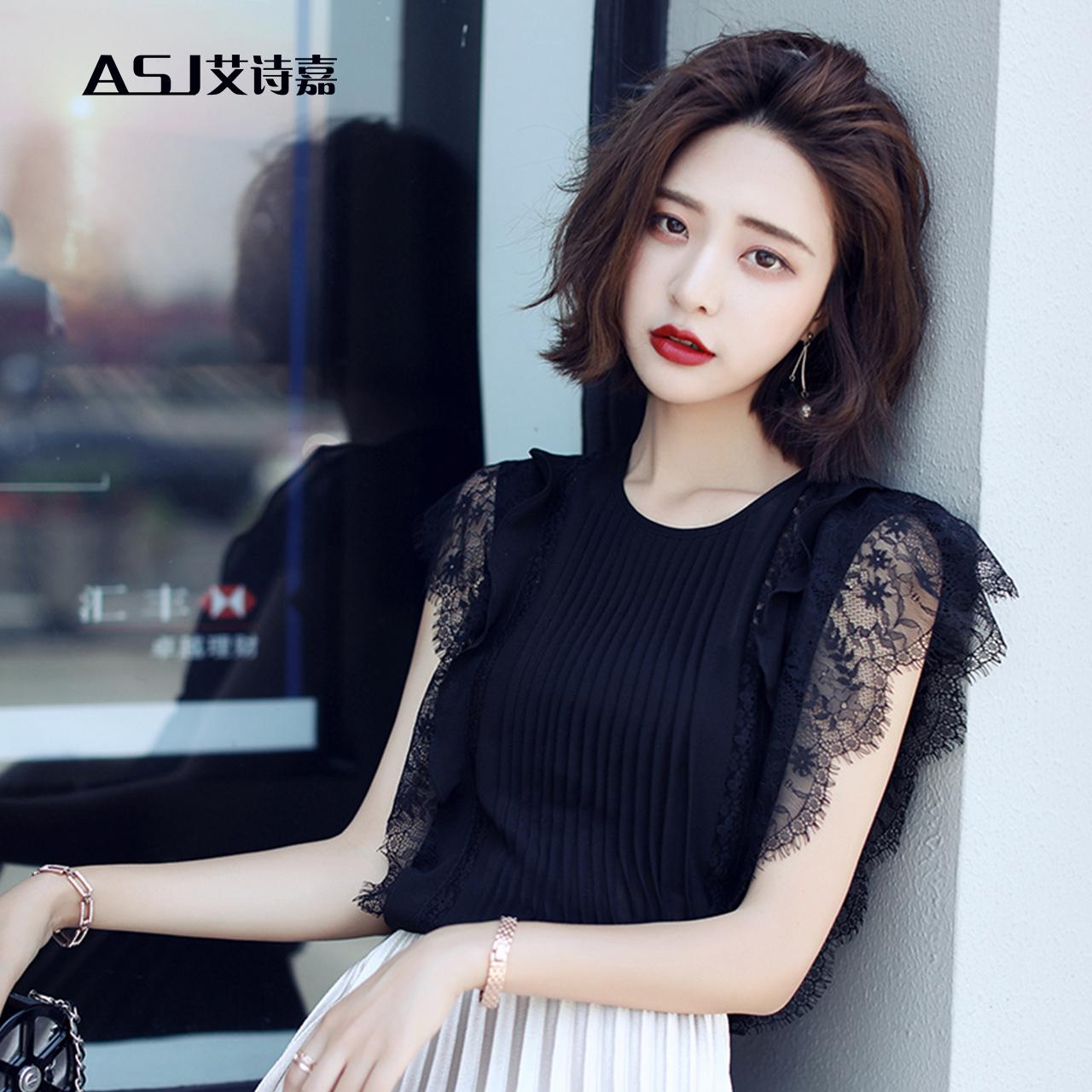 无袖雪纺衫夏季2017新款女装 韩版时尚褶皱显瘦黑色蕾丝雪纺上衣