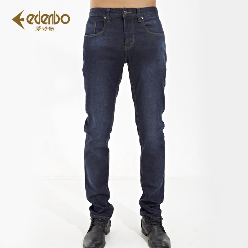 爱登堡春秋弹力牛仔裤 男士直筒修身长裤 蓝色牛仔裤大码男正品