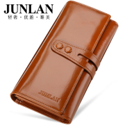 JUNLAN new ladies wallet large zip around wallet Korean leather women handbag leather women''s wallet purse bag