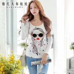 Women t shirt pink large doll summer 2015 new Indian beauty avatar sequin slim long sleeve t shirt women
