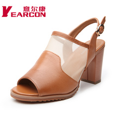YEARCON/er Kang new genuine leather shoes 2015 summer commuting thick with fish lips woman sandal