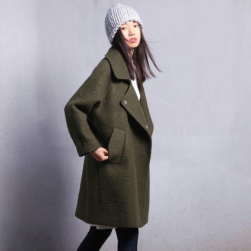画粉原创设计秋冬装新款韩版宽松廓形茧型羊毛