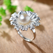 Thai natural Pearl ring 925 Silver ladies and gorgeous flowers exaggerated Korean cute ring wave