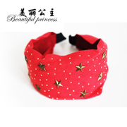 Korean band headband hair clip headband new suede flannel dots stars rivet winter card