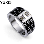 YUKI men''s Korean fashion design rings ring finger rings 18KGP gold plated h-starry night store accessories