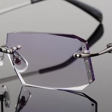 镶钻石切边眼镜 纯钛近视眼镜男款 轻盈无框眼镜框眼镜架商务成品