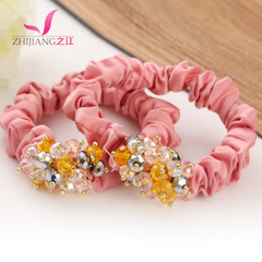 River of candy colors Korea tie Crystal high resilient thick hair elastic rope string ladies hair accessories