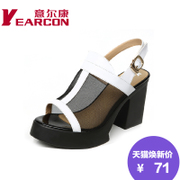 YEARCON/er Kang shoes genuine leather gauze thick in summer with high fish-mouth Lady sandals