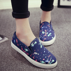 Hero Korean version of the new sheep fall canvas platform shoes was wearing flat shoes students lazy shoes shoes