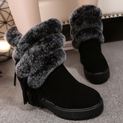 Tassel cylinder increased in rabbit hair snow boots women short boots leather women's boots cashmere winter European stations with thick-soled shoes