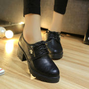 -Fall 2015 with leather shoes women's waterproof shoes in Taichung in England women's round head low cut lace casual shoes women