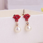 Good jewelry Korea fashion sexy lips, red lips earrings diamond stud earrings women''s hypo-allergenic